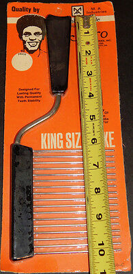 "NOS Vintage 10"" King Size Black Afro Hair Rake Comb Pick  Nylon/Steel"
