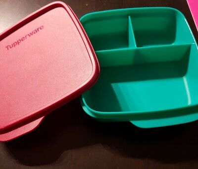 tupperware clevere pause brotdose 3 fach einteilung 550ml weinrot orange neu eur 10 90. Black Bedroom Furniture Sets. Home Design Ideas