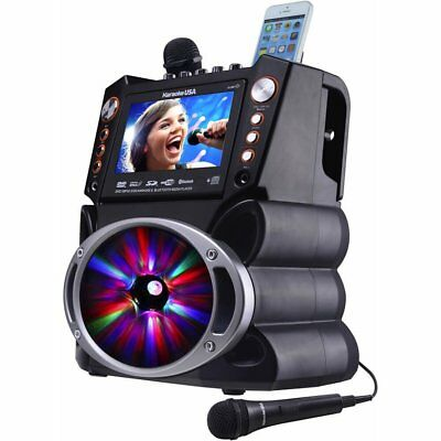 "Karaoke USA DVD/CDG/MP3G Karaoke Machine w/ 7"" TFT Screen Bluetooth & LED Lights"