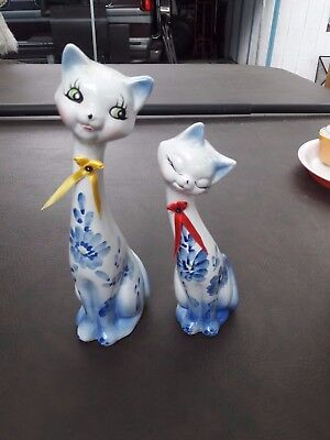 Vintage Blue Hand-painted  Long Neck Ceramic Cats