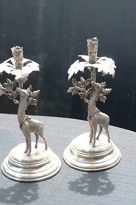 Antique Candle Holders 29 Cm High James Deakin And Sons Sheffield 1886-1940