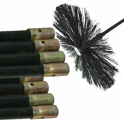 New  Chimney Sweeping Set Kit Sweep Brush Drain Rods Flue Cleaning