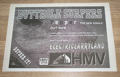Butthole Surfers - Pepper - 1996 Vintage Indie Advert Poster - 12 X 8 Ins