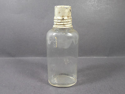 Antique Vintage Clear Glass Bottle With Metal Cap Retro Decor Collectable Home