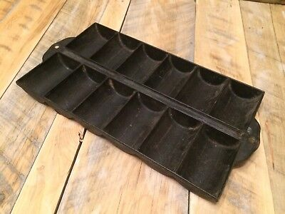 Antique Gate Mark Cast Iron French Roll Pan 12 Cup Vintage Cookware Bakeware