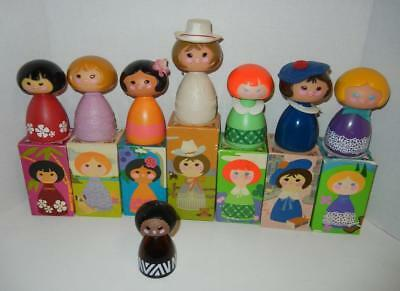 Vintage Lot of 8 Avon Disney Small World Dolls / Bottles Decanters 7 In Boxes