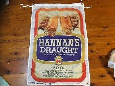 Hannan's draught vb  xxxx fourex beer  man cave flag wall hanging bar shed sign