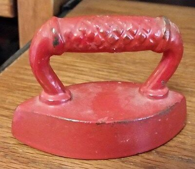 Antique Small Sad Iron - Cross Hatch Handle - Cast Iron - Painted Red