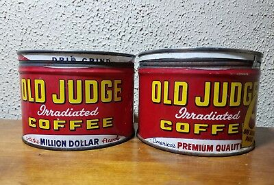 2 - OLD JUDGE COFFEE CANS KEY CAN Vintage Advertising Coffee Tin kitchen Owl