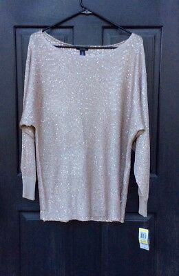 Alfani Women's Metallic Sequined Dolman Sweater Medium New Champagne NWT