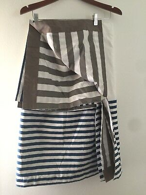 The Land of Nod Hop To It Crib Skirt Blue Gray Stripe Reversible