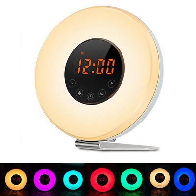 Wake Up Light Alarm Clock Sunrise Simulation FM 6 Sound 7 Colors LED Night Light