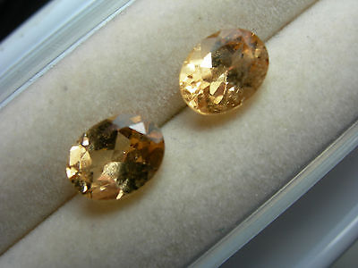2 rare Yellow Imperial Hessonite Gems Sri Lanka NATURAL gemstone Oval 3.2ct pair