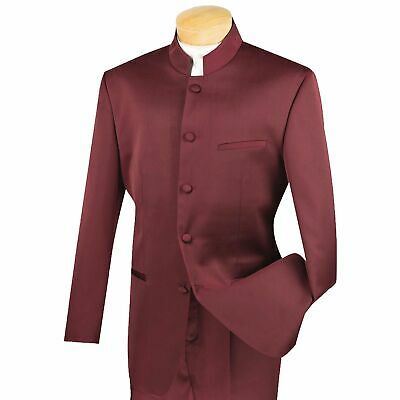 Men's Burgundy 5 Button Mandarin Banded Collar Classic-Fit Tuxedo Suit NEW
