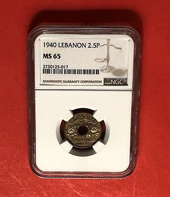 Lebanon- Uncirculated 1940 2 1/2 Piastres ,graded By Ngc Ms 65.