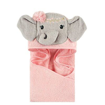 Little Treasure Animal Face hooded Towel, Baby Girls Pink Blossom Elephant Cute