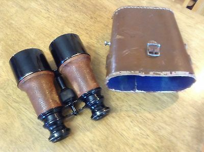 Vintage binoculars made in France with case made in England