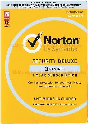 Symantec Norton security deluxe 2017 3 PC Device Windows Mac OS Android internet