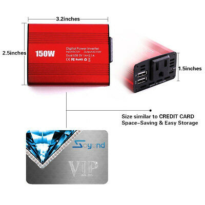 Dual USB 150W  Vehicle Power Inverter 12V To AC 110V Adapter Converter For Car