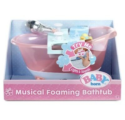 Baby Born Lights & Sounds Musical Foaming Bathtub For Doll Real Working Shower