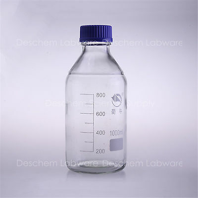 1000ml,Glass Reagent bottle w cap autoclavable,Blue Lid,Graduation 800ml