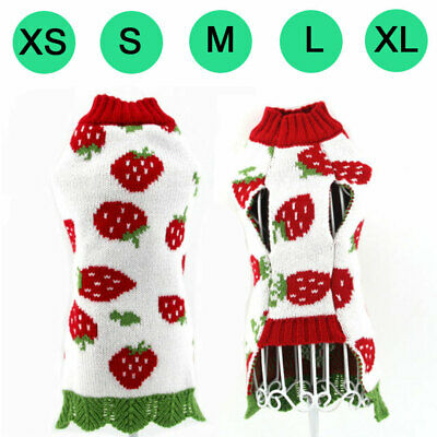 Pet Dog Cat Puppy Sweater Hoodie For Small Dogs Strawberry Warm Costume Apparel
