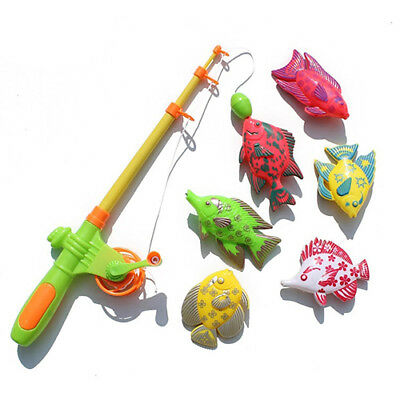 Magnetic Fishing Toy Rod Model Net 6 Fish Kid Baby Bath Time Fun Game  Great