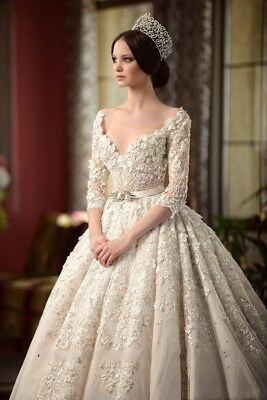 Gorgeous Lace Beaded Princess Wedding Dress White/Ivory Applique Bridal Gowns