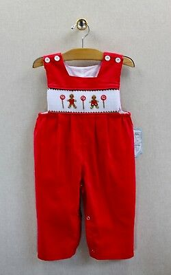 NEW Remember Nguyen Smocked Gingerbread 12 months Boys Christmas Longall
