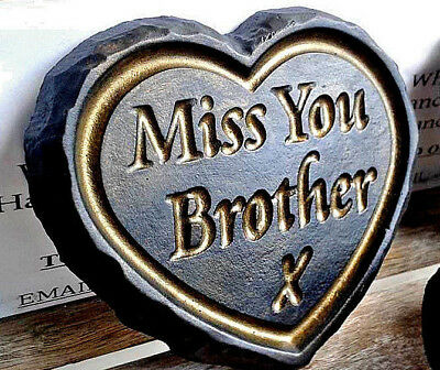 Miss You Brother - Black & Gold ENGRAVED STONE Heart Memorial Plaque Grave