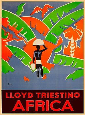Lloyd Triestino Africa Vintage African Travel Advertisement Art Poster Print