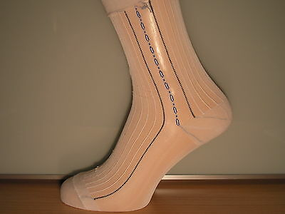 Patterned ribbed sheer nylon socks. WHITE with BLACK, BLUE and WHITE pattern