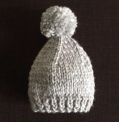 Hand Knitted baby hat with pompom, in chunky grey wool 3-6 months