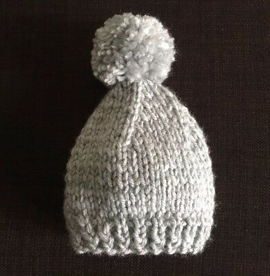Hand Knitted baby hat with pompom, in chunky grey wool 6-9 months