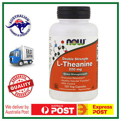 L-Theanine DOUBLE STRENGTH 200mg 120 Capsules by NOW Foods - BIG BOTTLE VALUE!
