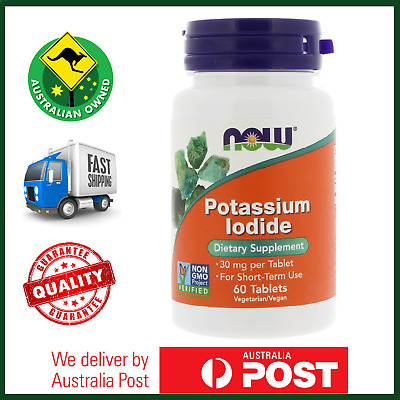 NOW Foods Potassium Iodide, 30 mg, 60 Tablets - Thyroid Support - AUS STOCK
