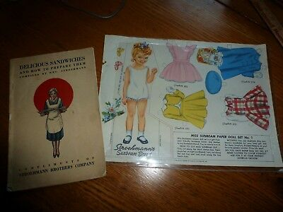 Vtg Stroehmann Sunbeam Bread Little Miss Sunbeam Paper Dolls 1950 Deco Cookbook