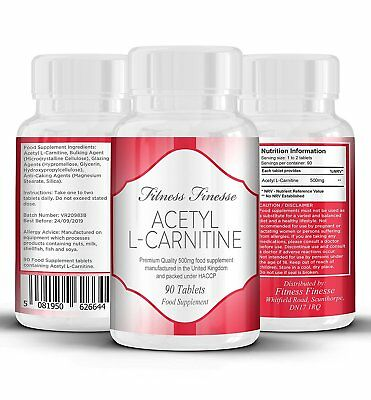 Acetyl L-Carnitine 500mg Powerful Energy Boosting Tablets 90 Tablets
