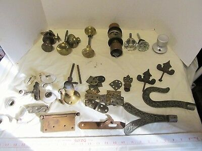 Antique Door Knobs Parts mixed lot salvage brass,glass,porcelain LQQK!