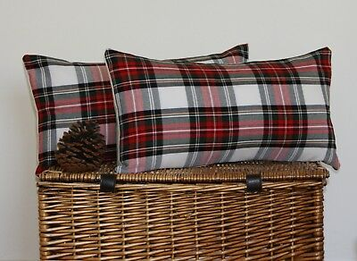 Tartan Cushion Cover Oblong Stewart Red White Green Country Balmoral Highland
