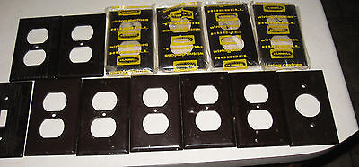 lot of 13 vintage brown switch plate outlet covers Hubbell, Leviton, Eagle