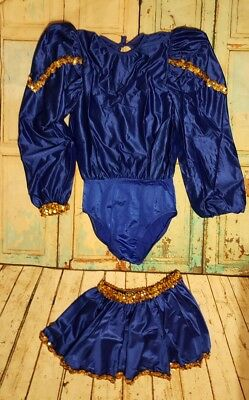 Adult Girls Ballroom Ballet Dance Lace Leotard Blue Gold with Pull-on Skirt