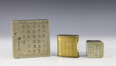 Lot Of Three Old Chinese Covered Boxes Paktong Etc With Writing