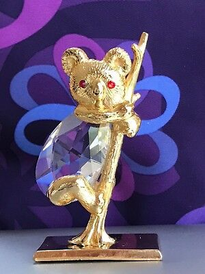 CRYSTAL and GOLD KOALA BEAR on a BRANCH made with SWAROVSKI CRYSTALS