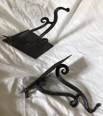 PAIR LARGE Antique 18th Early 19th Cent Hand Forged Wrought Iron Wall Mount Hook