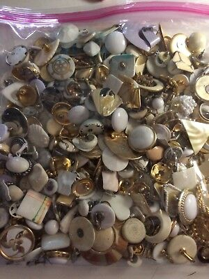 Huge Lot Of Vintage Single Earrings In White Colors For Crafts