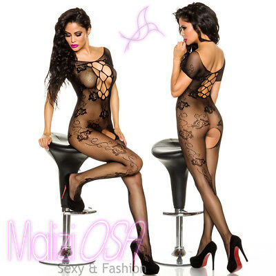 Bodystocking Catsuit nera rete apertura inguinale intimo sexy lingerie donna hot