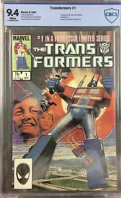 Vintage Transformers #1 comic CBCS (not CGC) 9.4 Marvel 1984 White Pages