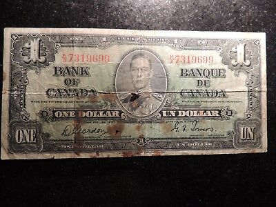 1937 BANK OF CANADA $ 1 ONE DOLLAR GORDON TOWERS K/A 7319699 BC-21c