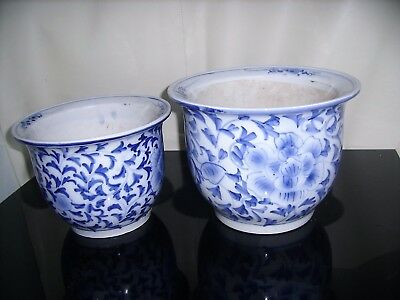 Pair of Chinese Blue & White Plant Pots